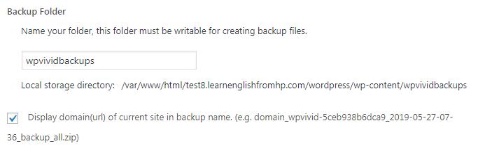 Name the backup folder