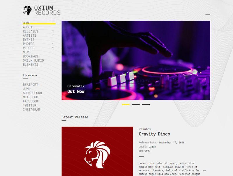 Oxium WordPress Music Theme