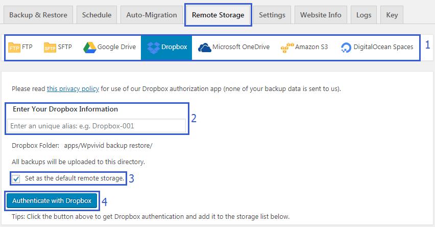 Remote storage tab WPvivid backup plugin
