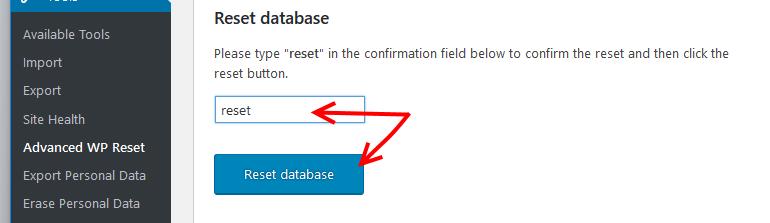 Reset database with Advanced WP Reset plugin