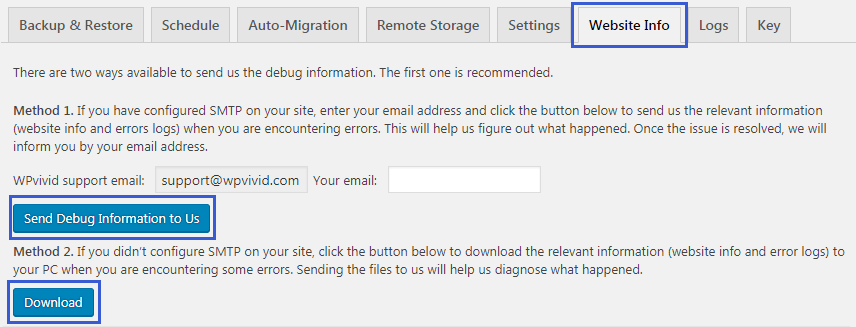 Send debug info WPvivid backup plugin