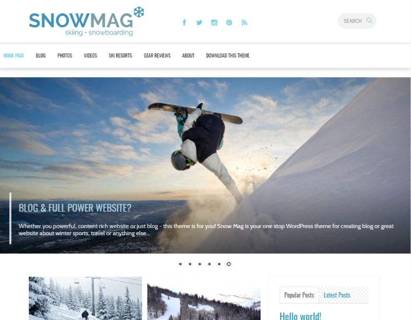 SnowMag Sports WordPress Theme