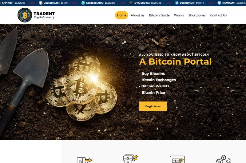 Tradent Bitcoin Cryptocurrency WordPress Theme