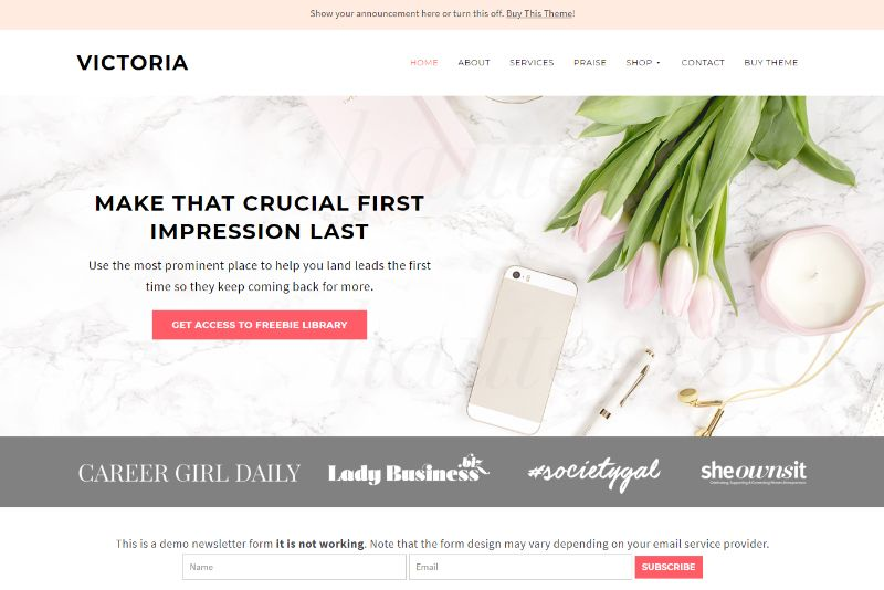 Victoria Theme Feminine WordPress Theme