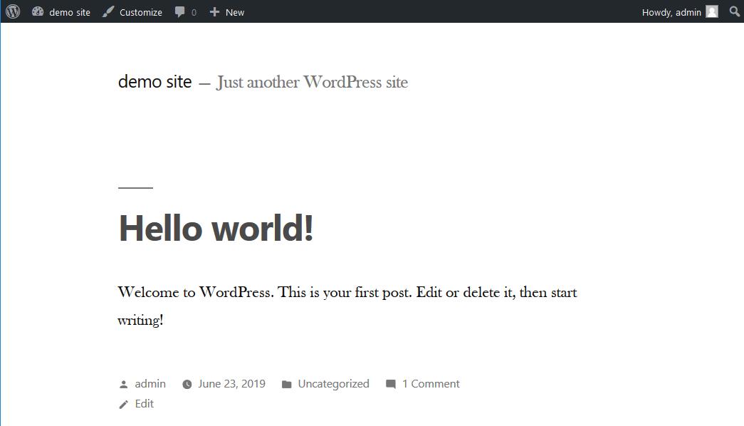 View reset WordPress in front