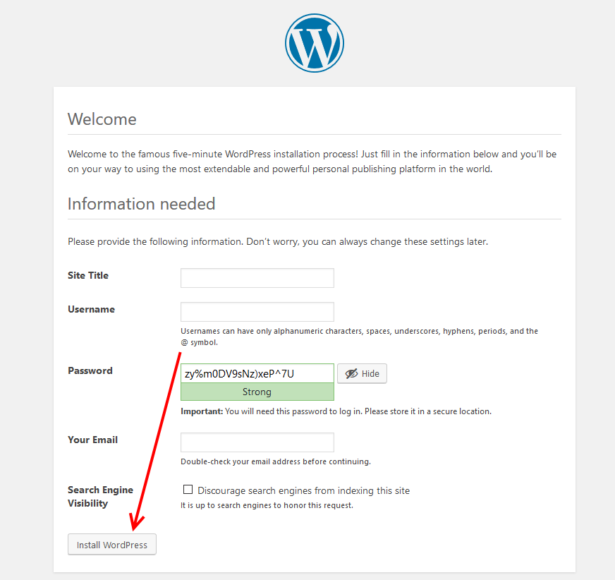 Configure and install WordPress