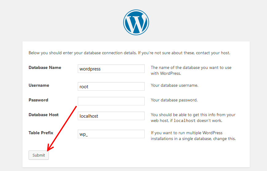 Provide database info and install WordPress