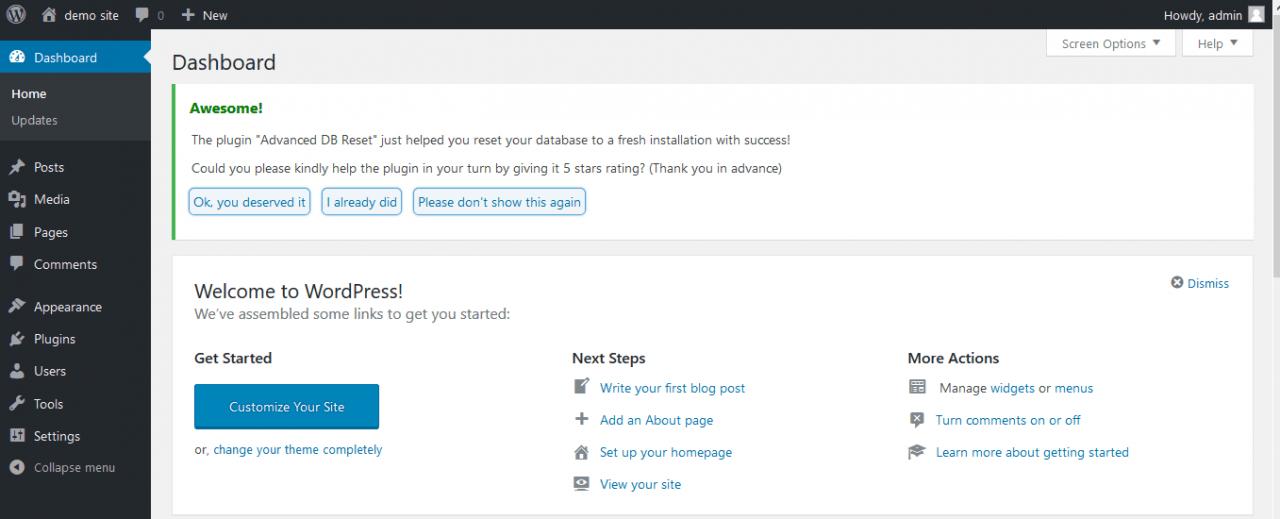 WordPress reset complete