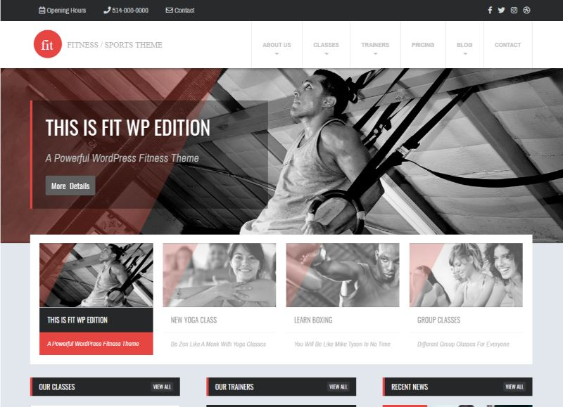 WPlook Fitness WordPress Theme