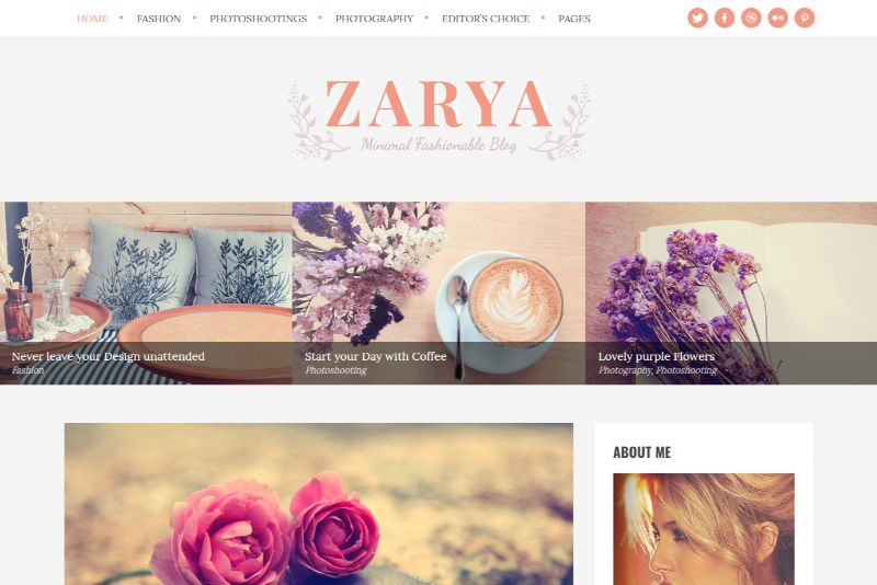 Zarya Feminine WordPress Theme