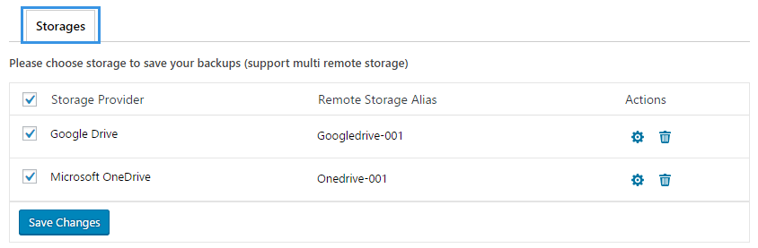 Send backups to multiple remote storage
