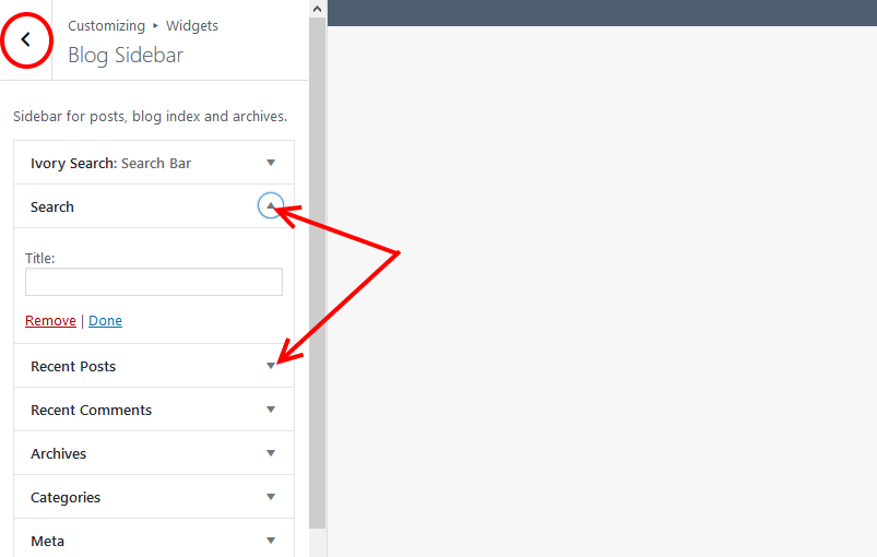 Customize widgets sidebar