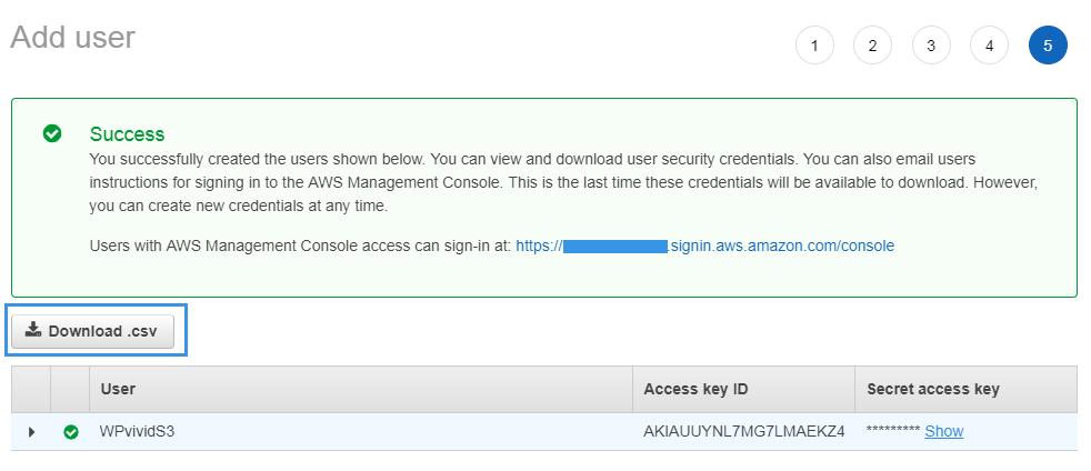 Download user access key and secret key Amazon