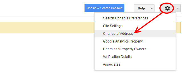 Change of address in Google Search Console