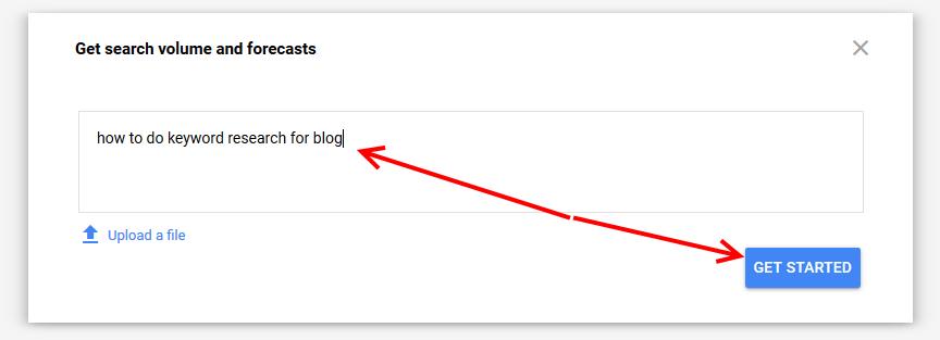 Google keyword planner forecast