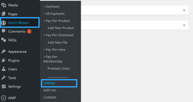 Gourl bitcoin payment gateway plugin settings