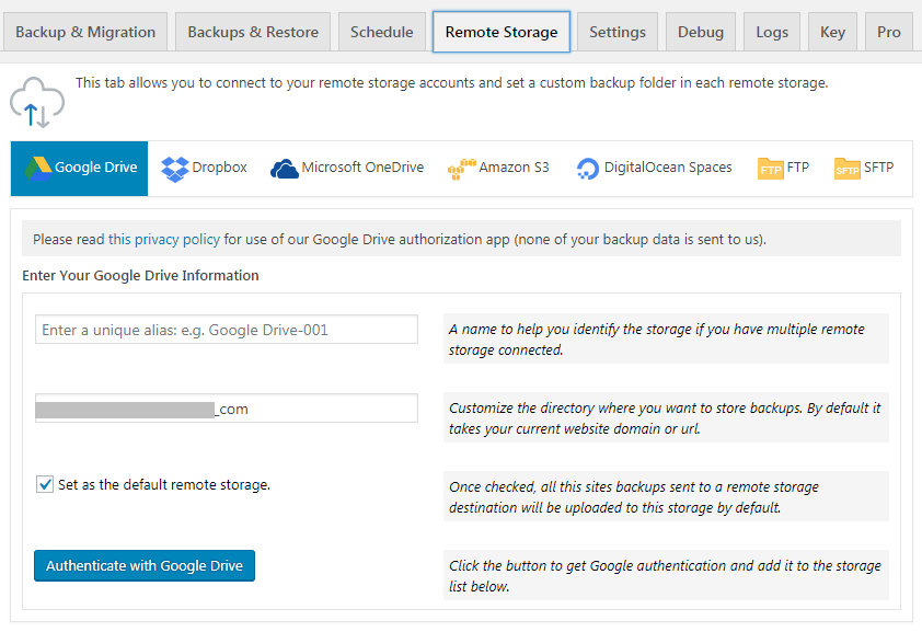 Remote storage tab page overview