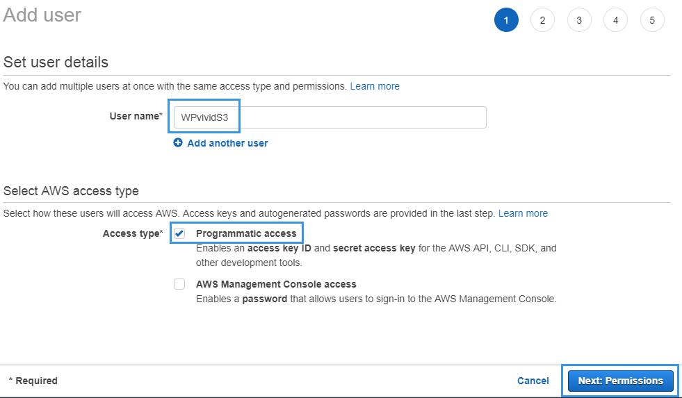 Set user detail Amazon IAM