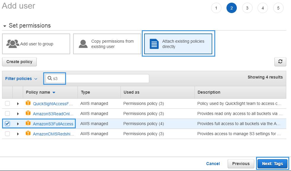 Set user permission Amazon IAM