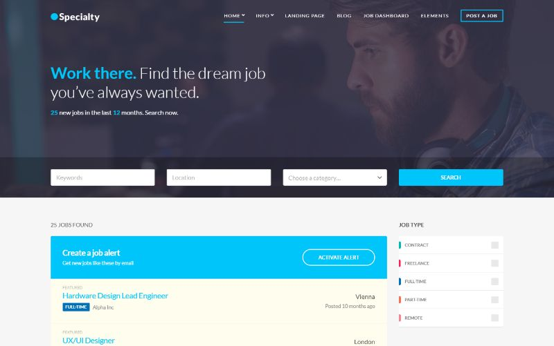 Speciality WordPress job theme