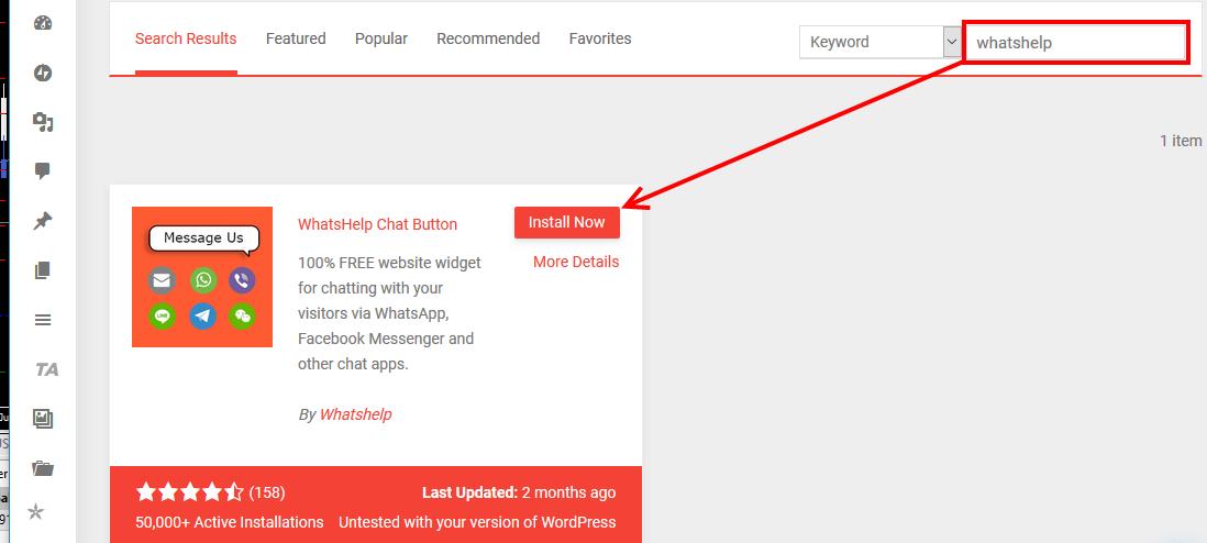 Install Whatshelp Chat Button WordPress plugin