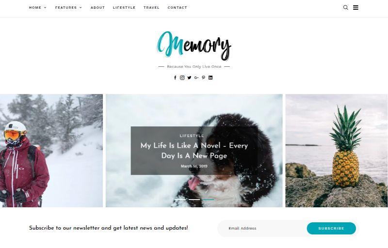 Memory Personal Blog WordPress Theme