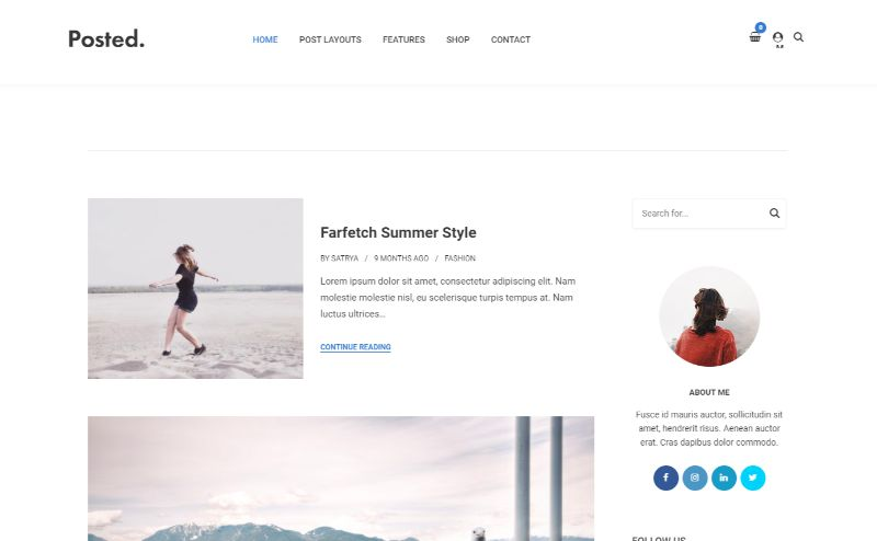 Posted Personal Blog WordPress Themes