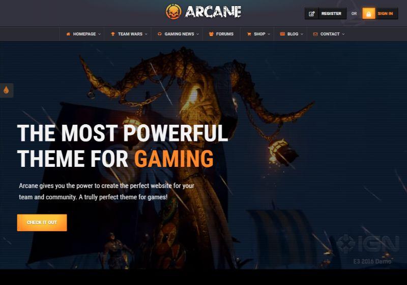 Arcane Gaming WordPress Theme
