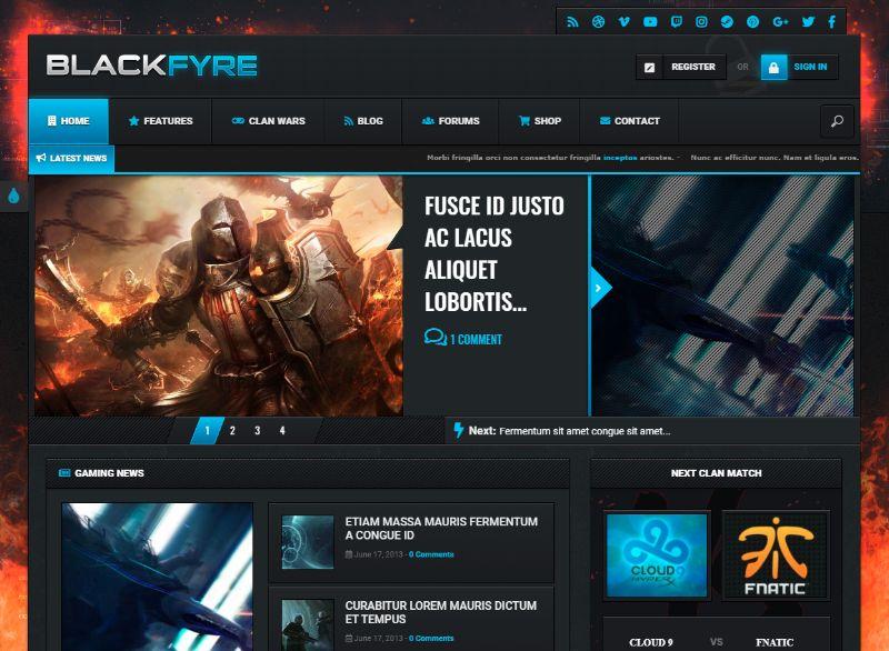 BlackFyre Gaming WordPress Theme