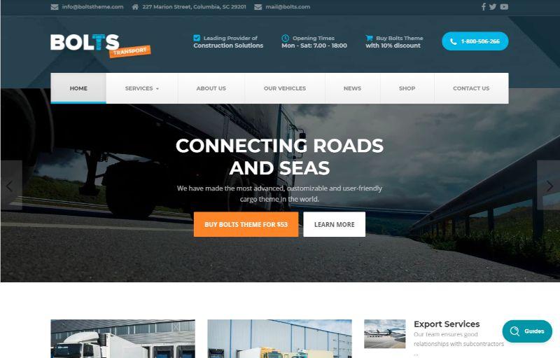 Bolts Logistics WordPress Theme