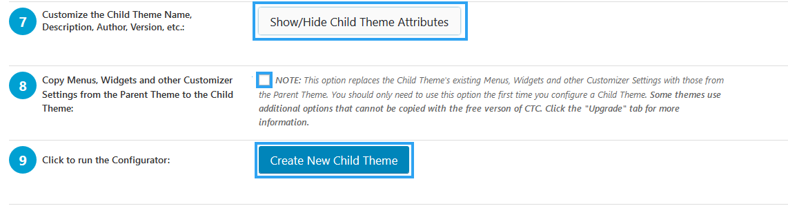 Show or Hide Child Theme attributes