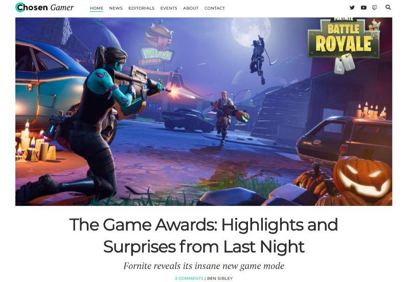 Chosen Gamer Gaming WordPress Theme