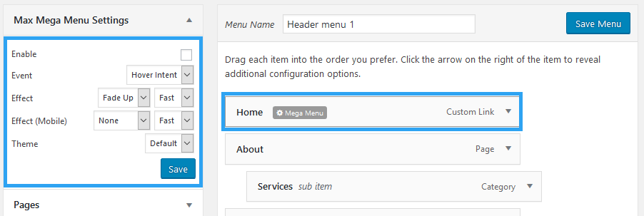 Create mega menu using max mega menu