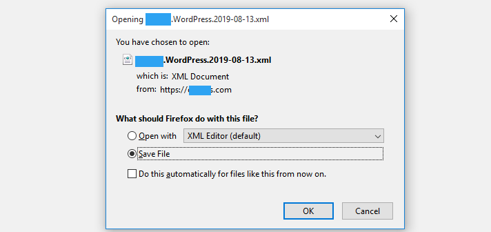 Export xml file