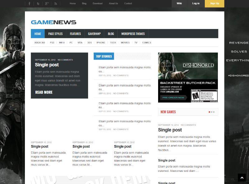 Game News Gaming WordPress Theme