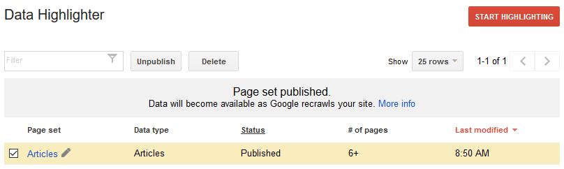 Highlighting publish done