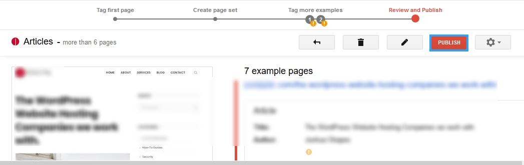 Highlighting publish