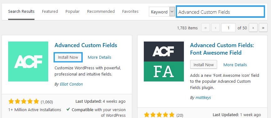 Install Advanced Custom Fields WP plugin