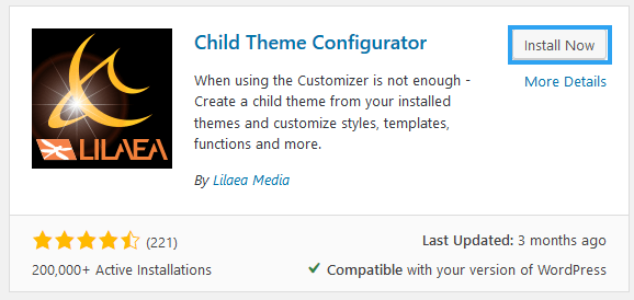 Install Child Theme Configurator WordPress plugin