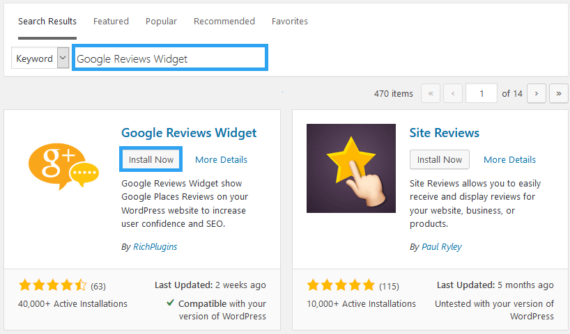 Install Google Reviews Widget Plugin