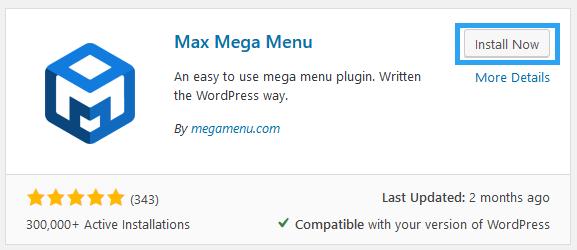 install max mega menu