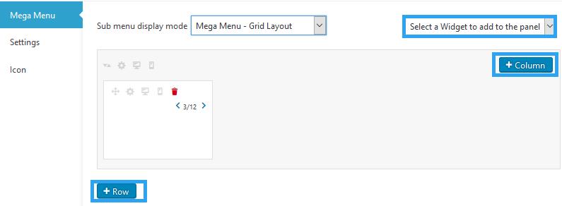 create mega menu widget