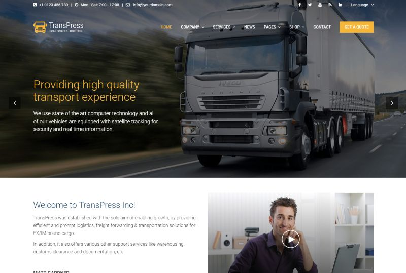 Transpress Logistics WordPress Theme