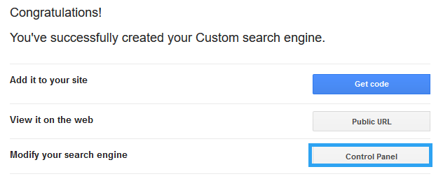 WordPress search control panel