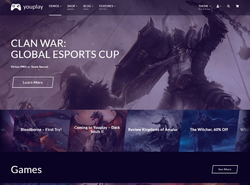 YouPlay Gaming WordPress Theme