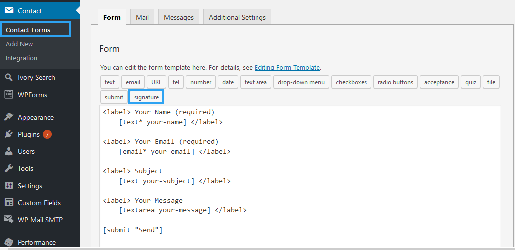Add field with Contact Form 7