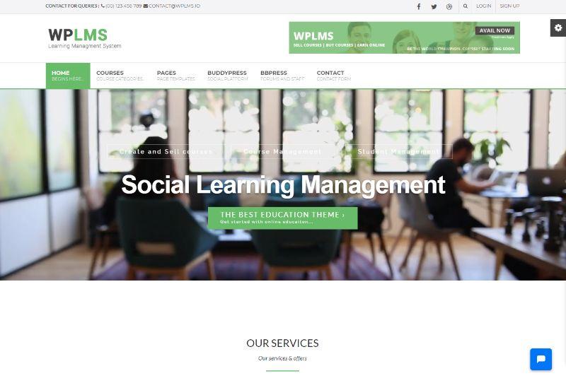 WPLMS Four Columns WordPress Theme