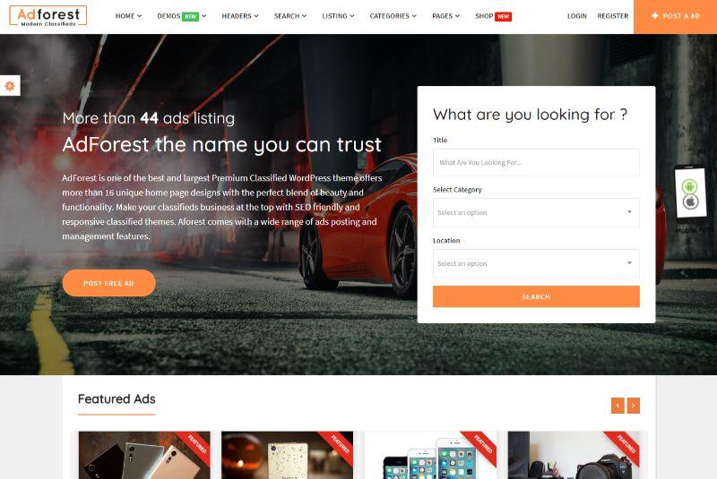 Adforest One Column WordPress Theme