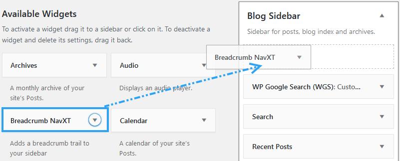 Display Breadcrumb NavXT widget