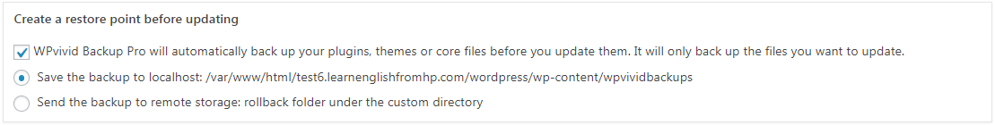 Create auto backup before update